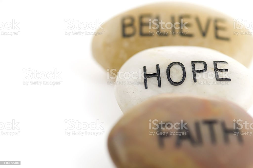 Believe, Hope and Faith stones royalty-free stock photo