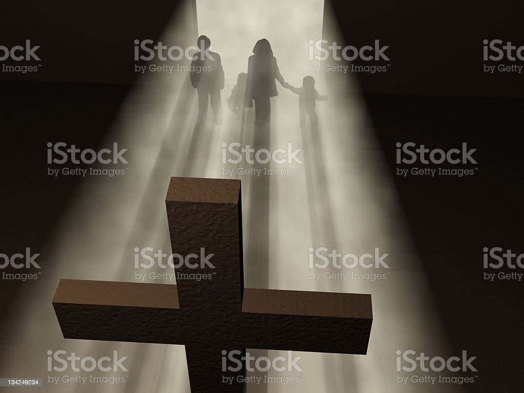 believers before a cross stock photo