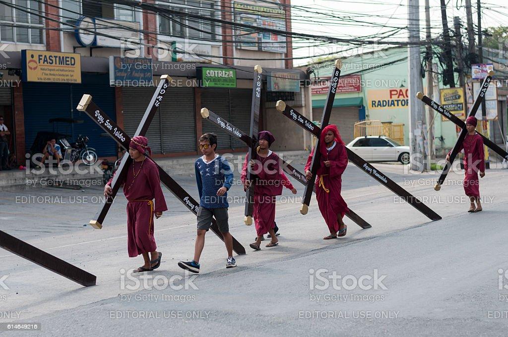 Believers carry crosses stock photo