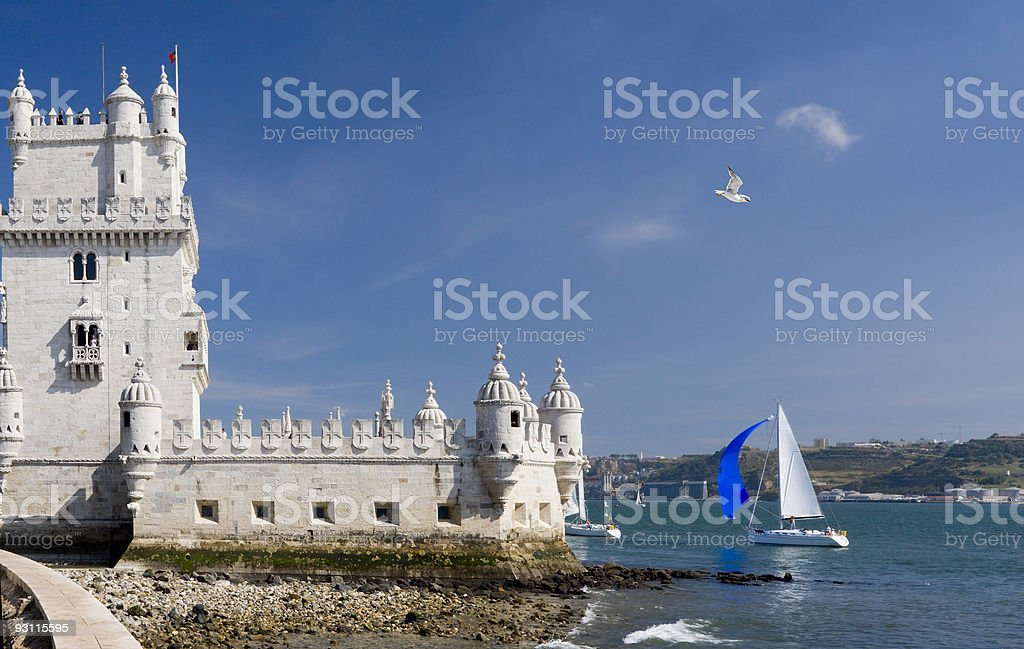 Belim tower and yacht royalty-free stock photo