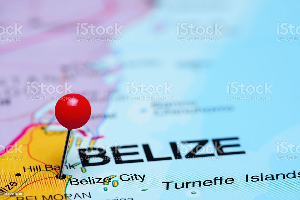 Belize City pinned on a map of America stock photo