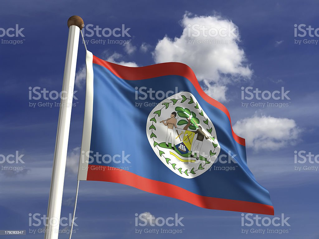 Belize flag (with clipping path) stock photo