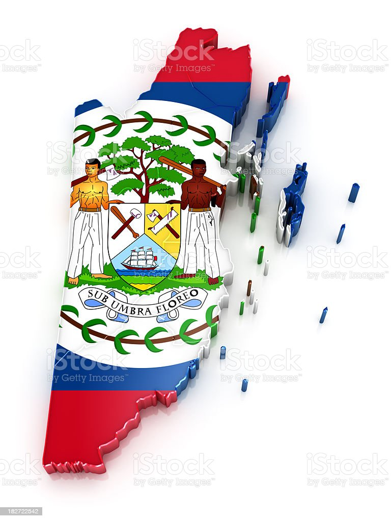 Belize map with flag stock photo