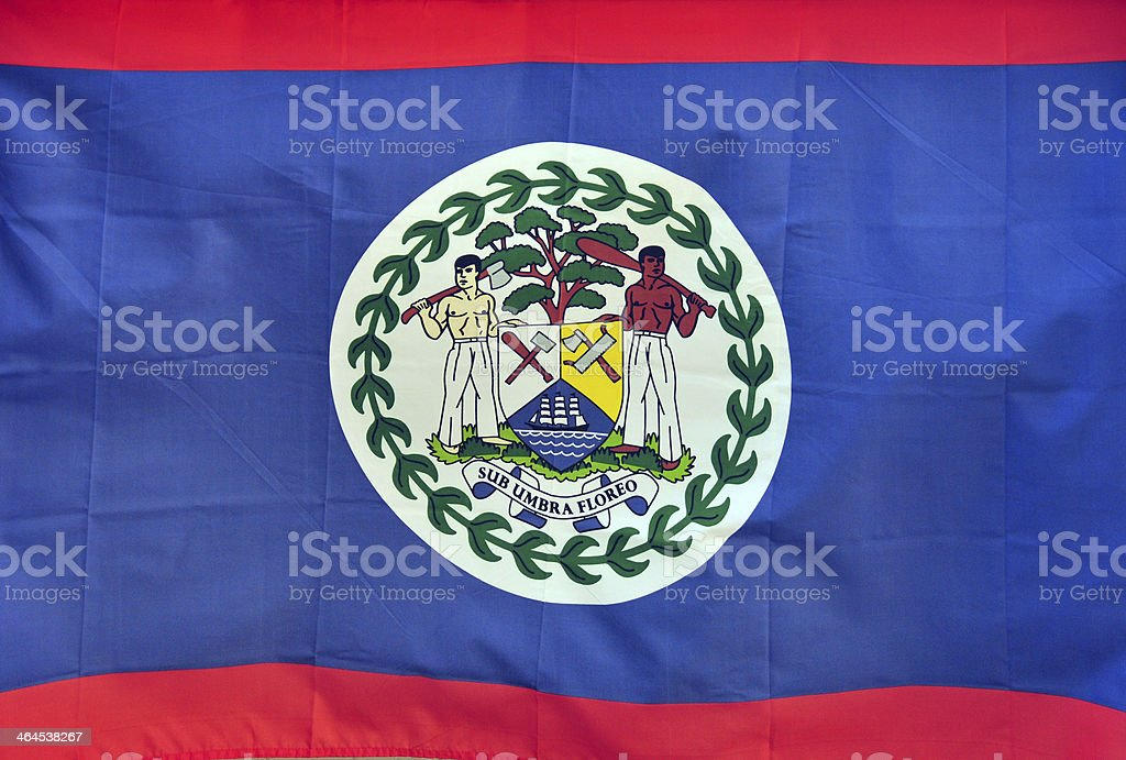 Belizean flag (not computer generated) stock photo