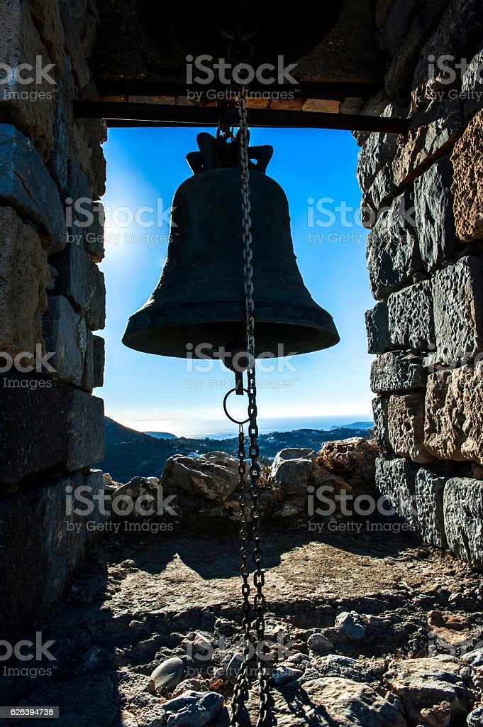 Bell against to blue sky stock photo