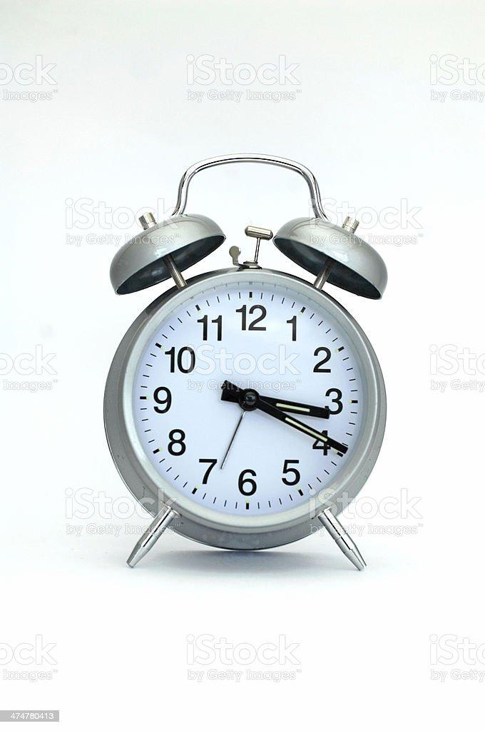 Bell alarm clock silver stock photo
