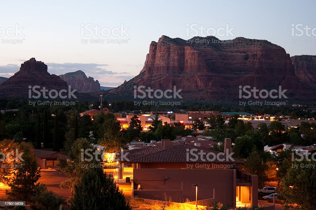 Bell and Courthouse Rocks in Sedona, Arizona at night stock photo