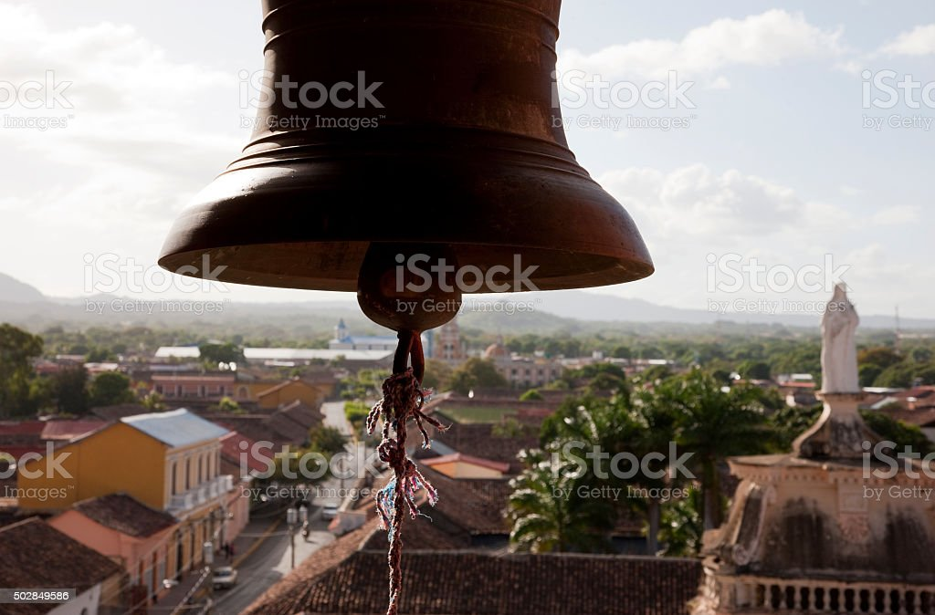 Bell at the top of the Tower of La Merced, Granada, Nicaragua stock photo