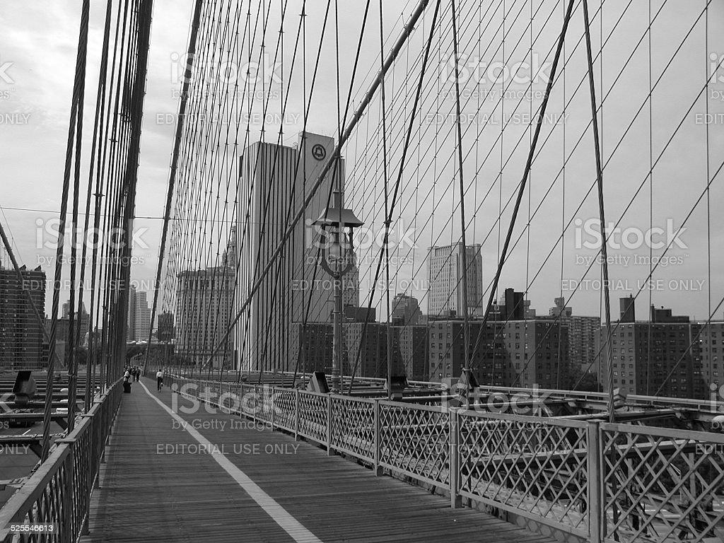 Bell Atlantic Building and Brooklyn Bridge 2001 NYC stock photo
