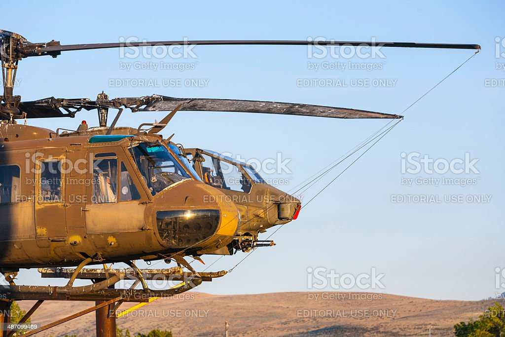 Bell Helicopter at Veterans Memorial in Susanville, USA. stock photo