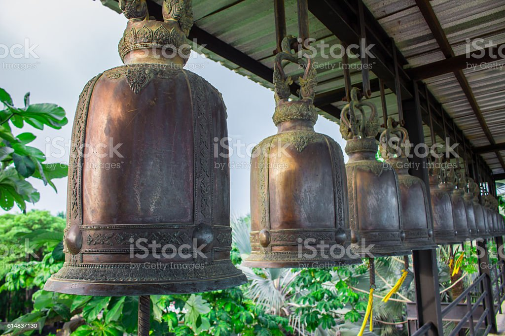 Bell hung on steel. stock photo