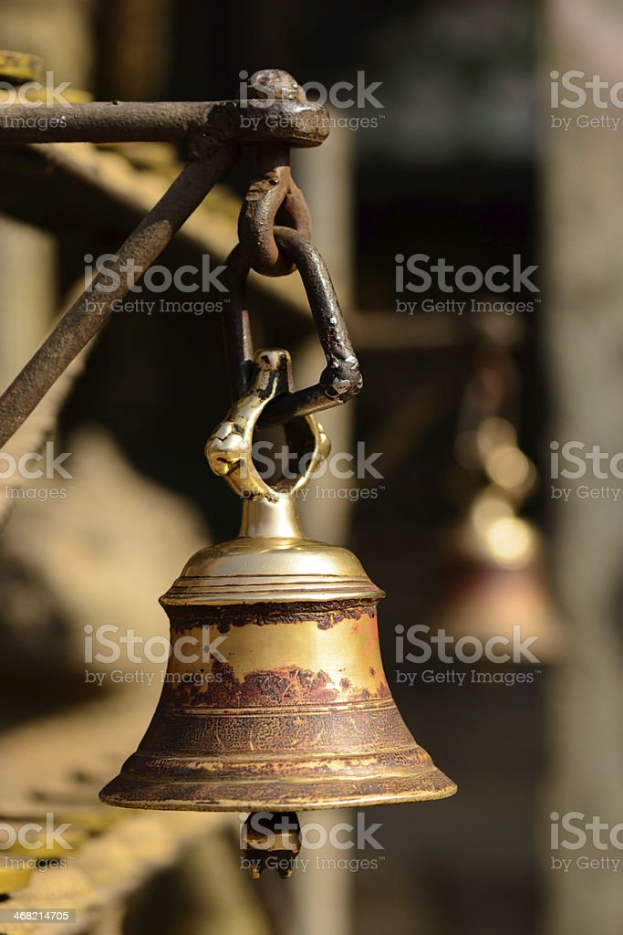Bell in a buddhist temple in Kathmandu stock photo