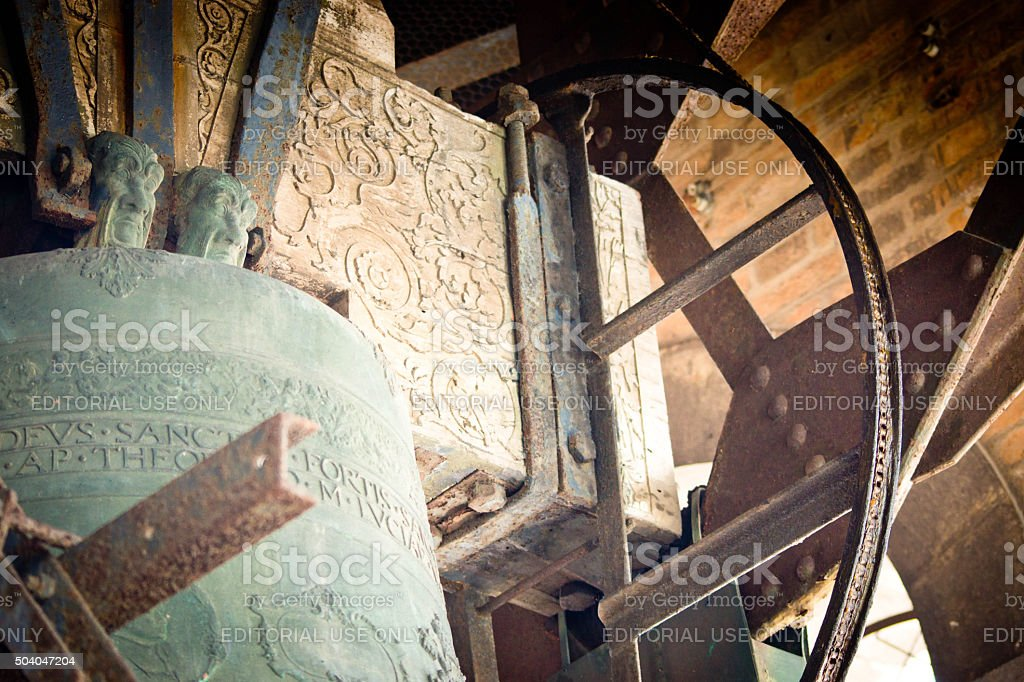 Bell in the Camponile in Venice stock photo