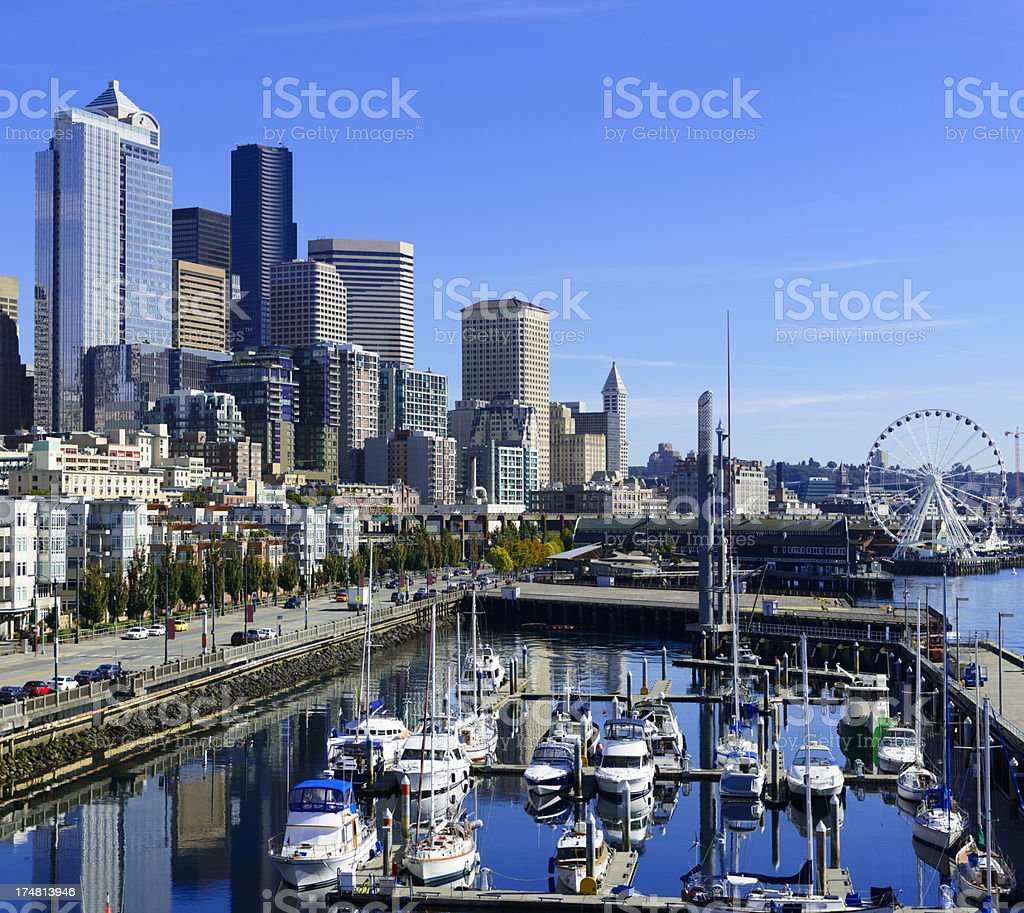 Bell Marina in Downtown Seattle in the USA royalty-free stock photo