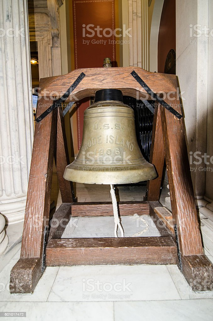 Bell of USS Rhode Island 1906 in Providence State House stock photo