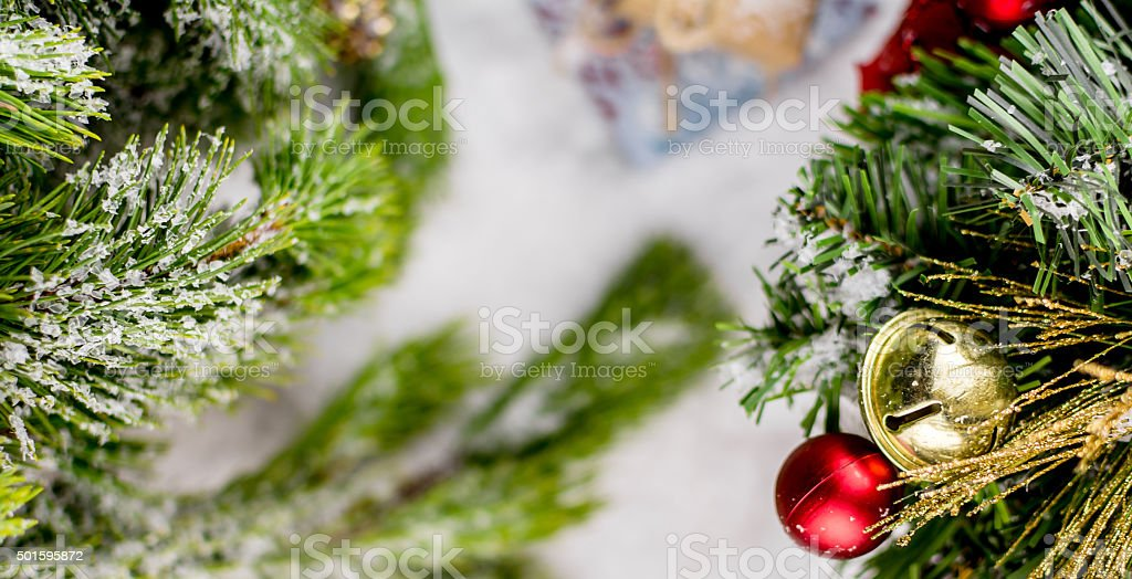 Bell on a Christmas Tree, Winter Banner, Christmas Background stock photo