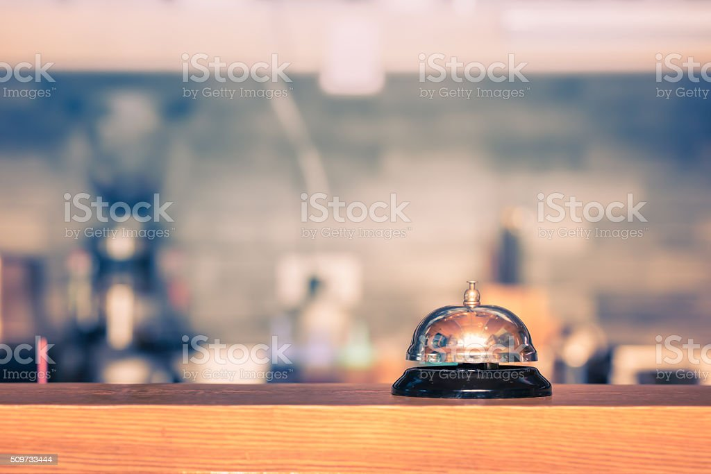 Bell on counter stock photo