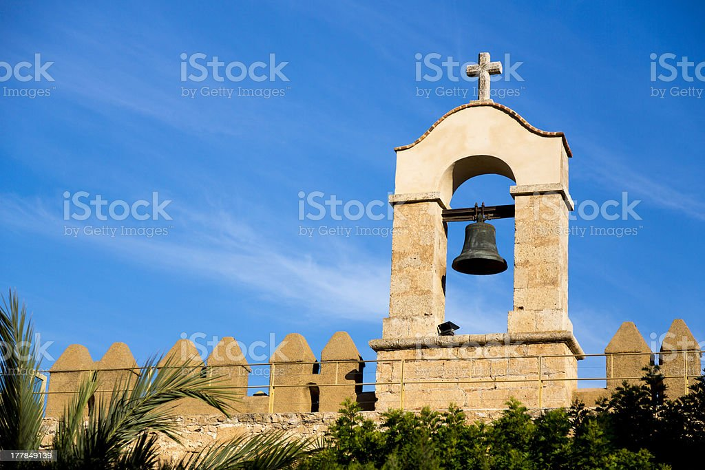 Bell on top of the Alcazaba in Almeria stock photo
