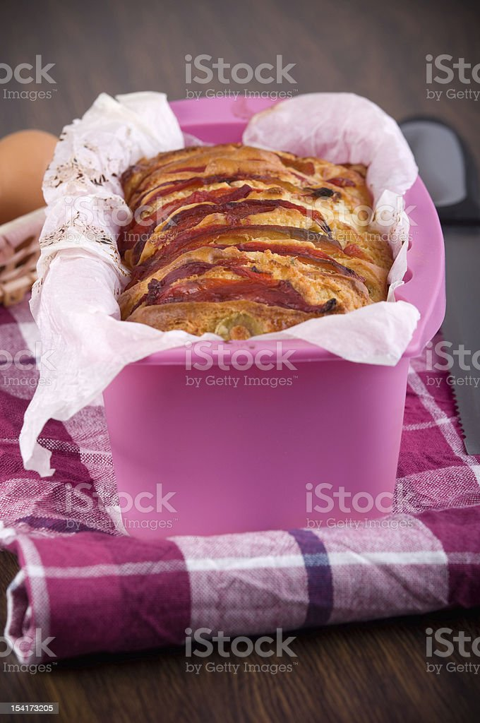 Bell pepper and olive loaf. royalty-free stock photo