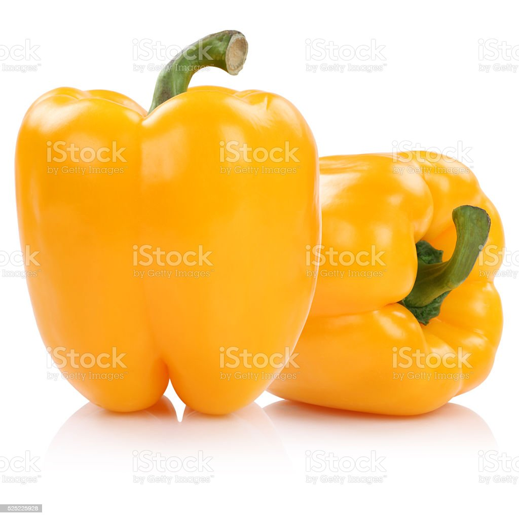 Bell pepper peppers paprika paprikas yellow isolated on white stock photo