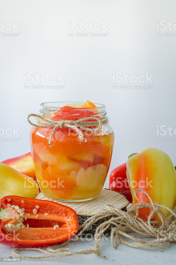 Bell pepper preserved in a glass jar stock photo