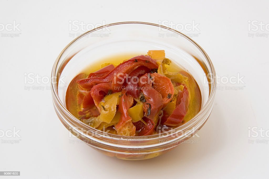 Bell Pepper Slices in Glass Chef's Bowl royalty-free stock photo