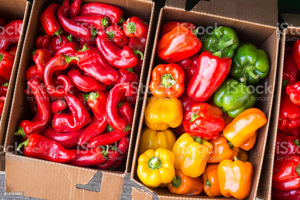 Bell peppers and Hot Portugal peppers stock photo