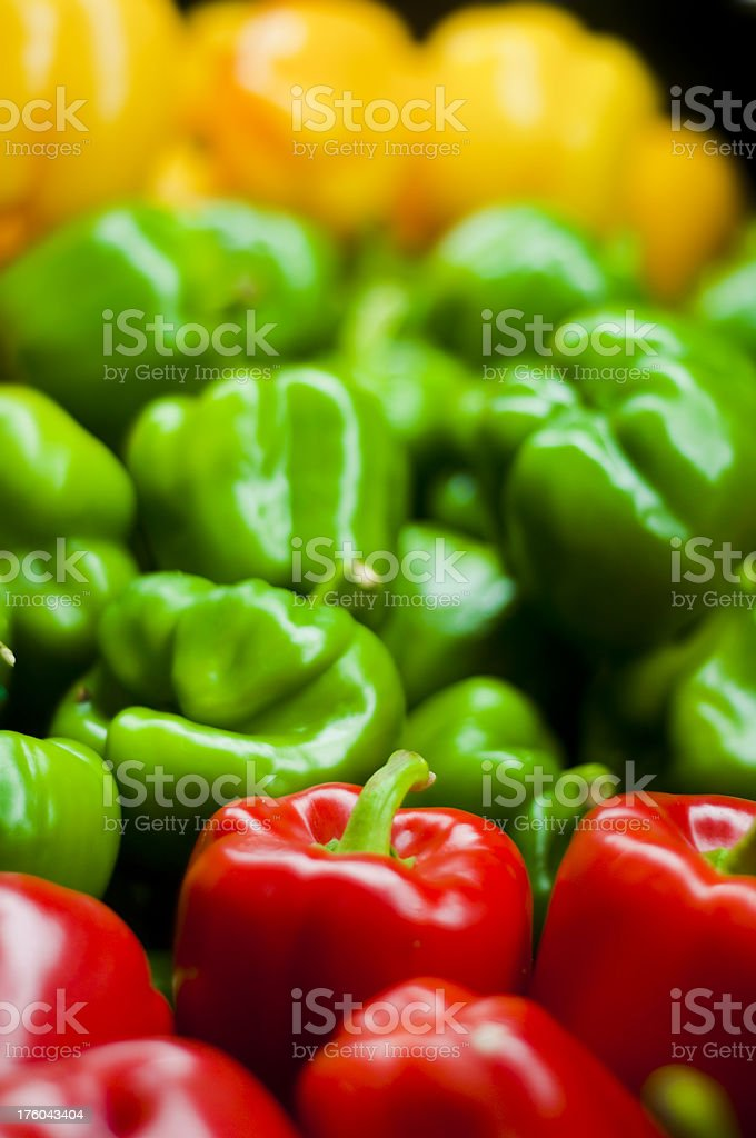 Bell Peppers in a pile at Market royalty-free stock photo
