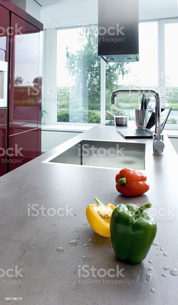 bell peppers on kitchen counter top royalty-free stock photo