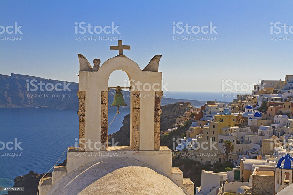 Bell tower above the sea in Santorini royalty-free stock photo