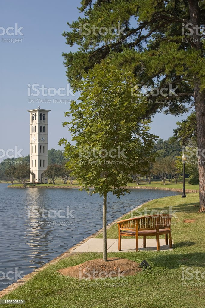 Bell Tower Along Scenic Lake stock photo