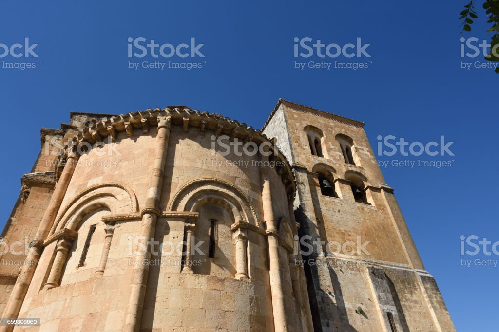 Bell tower and apse of El Salvador Church,Sepulveda,Segovia province, Spain stock photo