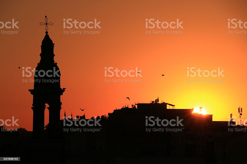 bell tower and birds stock photo