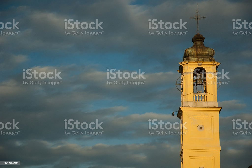 Bell tower and cloudy sky royalty-free stock photo