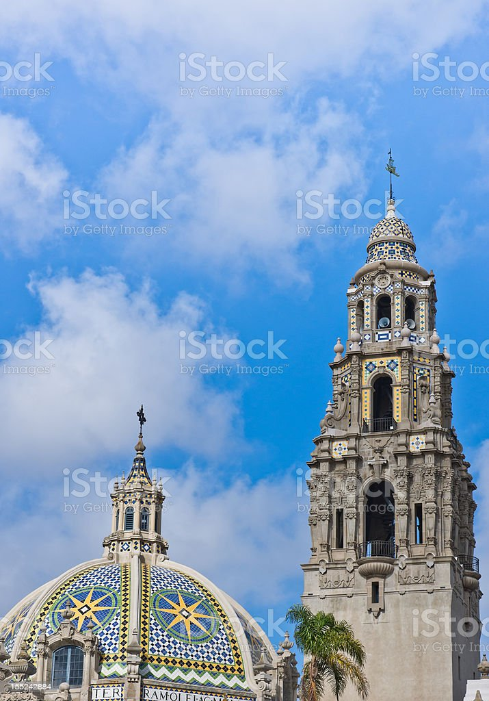 Bell Tower and dome at Balboa Park in San Diego stock photo