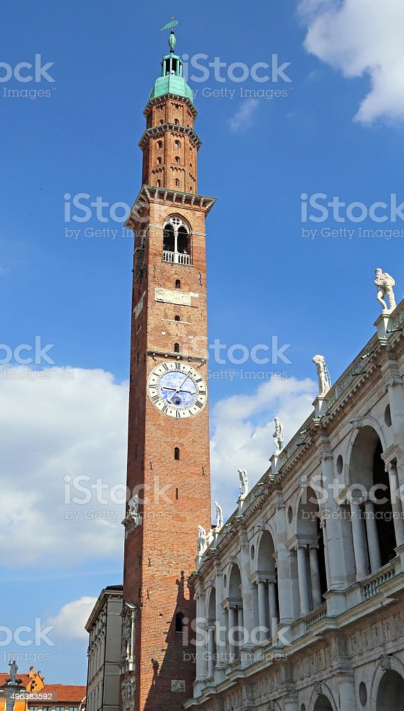 bell tower and Palladian Basilica by Andrea Palladio stock photo
