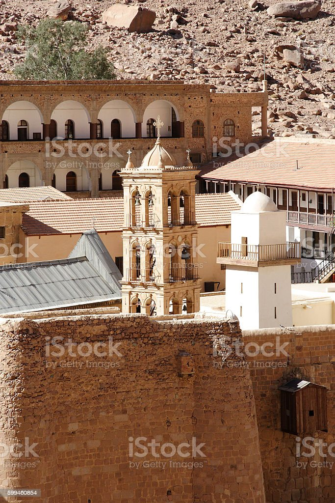 Bell tower and the minaret of the monastery of St. Catherine stock photo