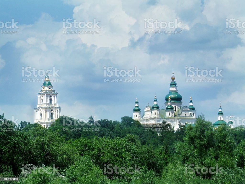 bell tower and Troitskyi monastery in Chernihiv stock photo