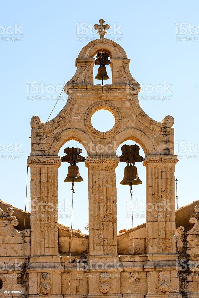 Bell tower at Arkadi monastery on Crete island, Greece stock photo
