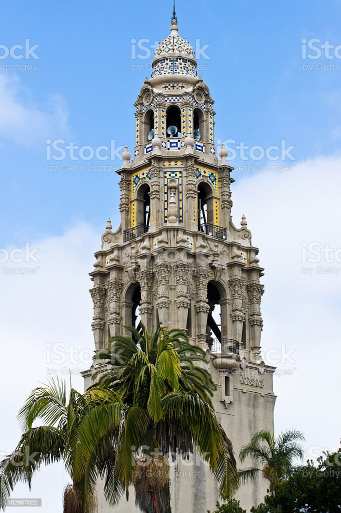 Bell Tower at Balboa Park in San Diego stock photo