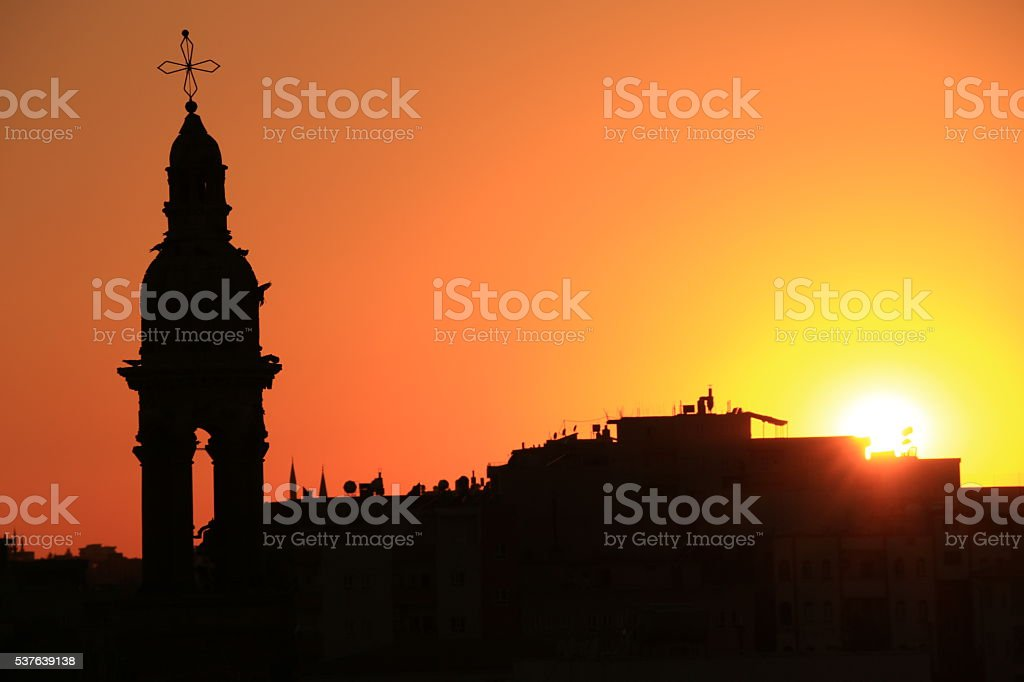 bell tower at mardin stock photo