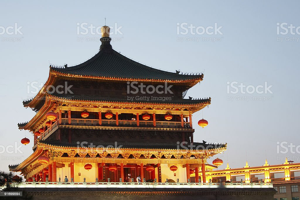 Bell Tower at night in Xi'an, China royalty-free stock photo