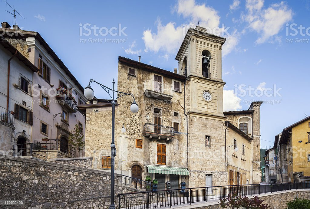 Bell tower at Piazza Vecchia, Scanno Abruzzi Italy royalty-free stock photo