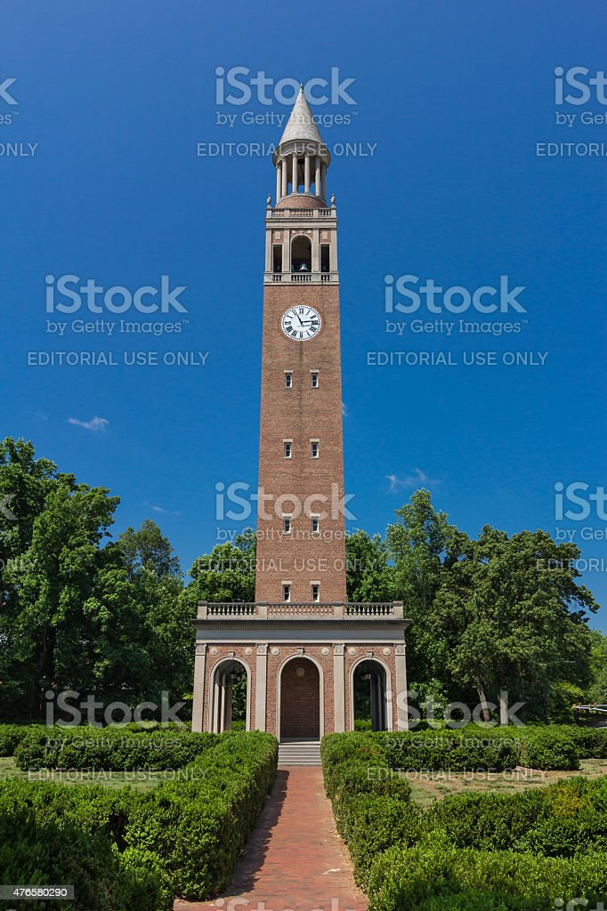 Bell Tower at UNC-Chapel Hill stock photo