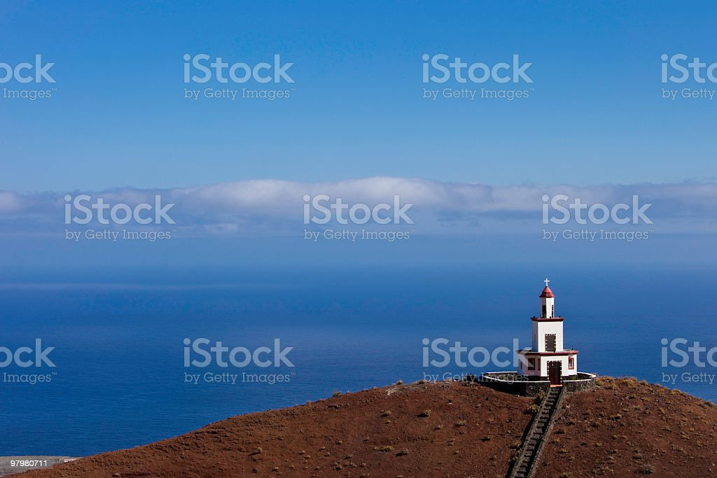 Bell Tower Campanario de Joapira Against Blue Sky, El Hierro stock photo