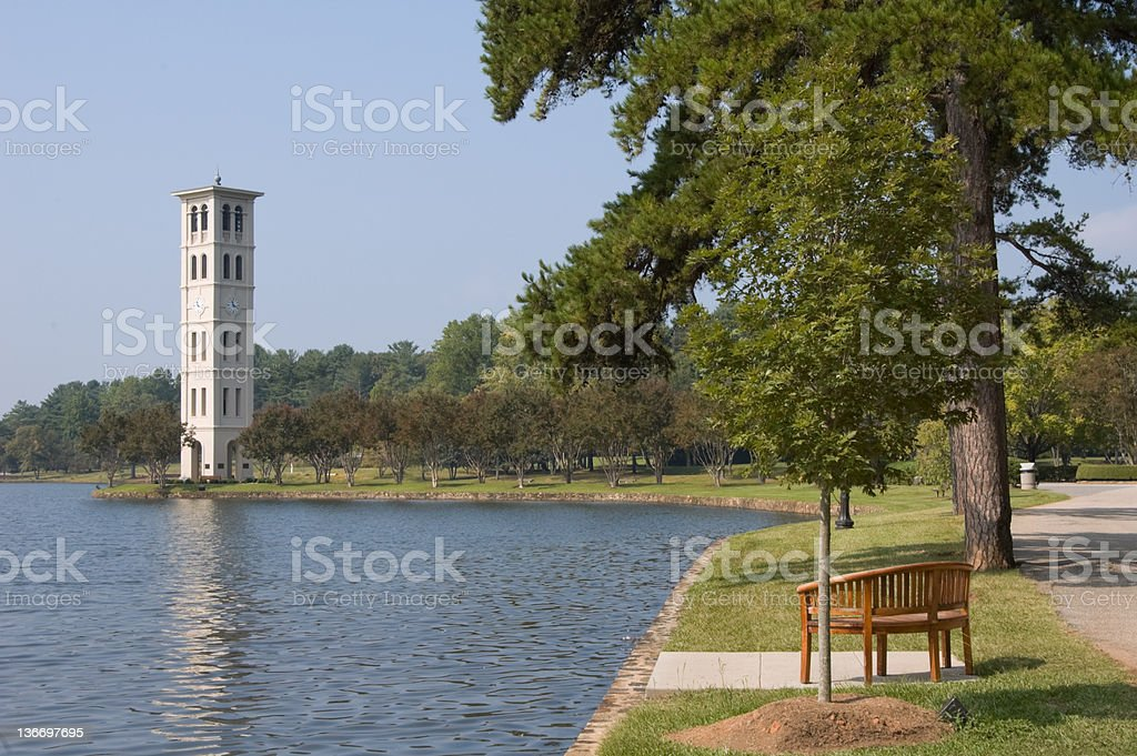 Bell Tower Carillon by Scenic Lake, Furman College, South Carolina stock photo