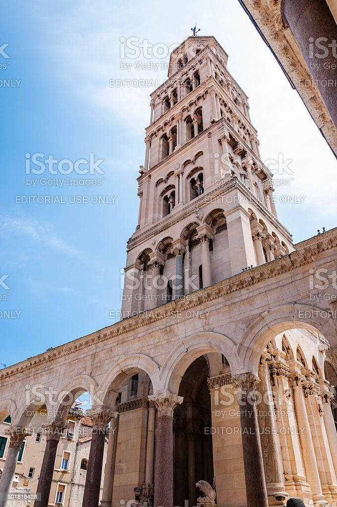 Bell tower. Cathedral of Saint Domnius. Medieval architecture. Split. stock photo