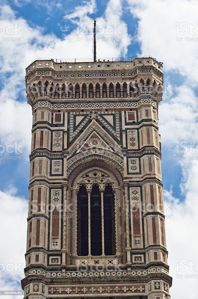 Bell tower detail of Florence Santa Maria del Fiore cathedral stock photo