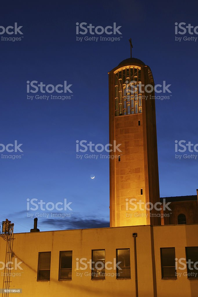 Bell Tower, Dusk, Moon - Youngstown, Ohio stock photo