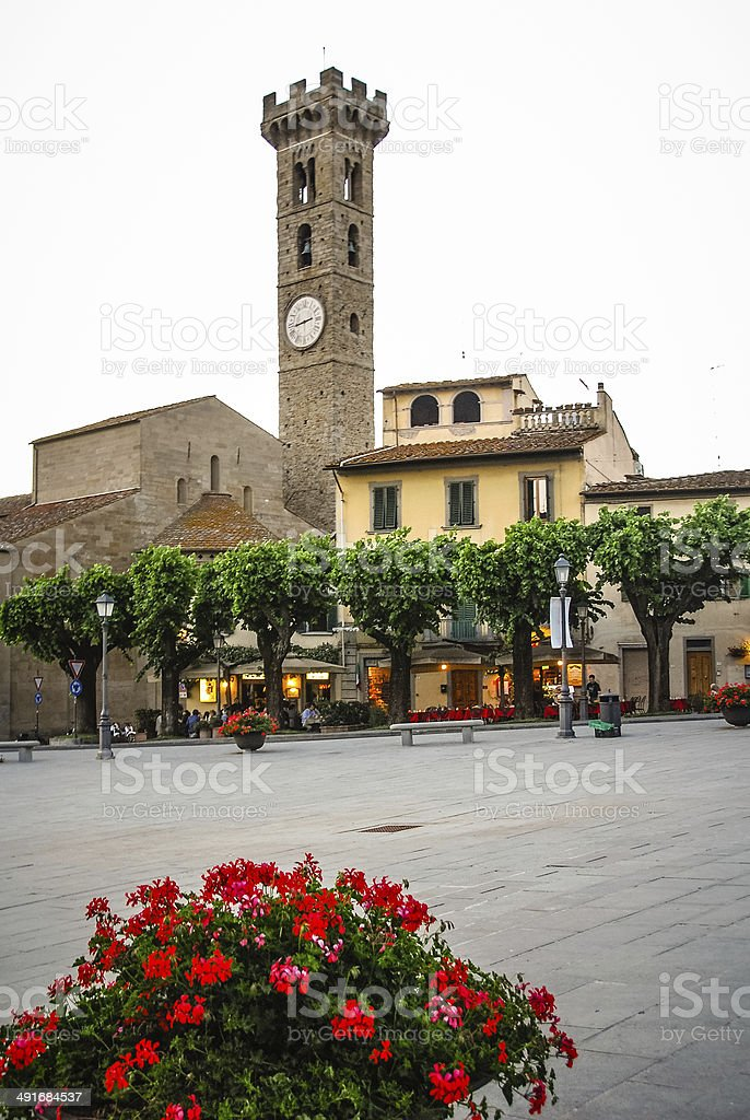 Bell Tower in Fiesole, Italy stock photo